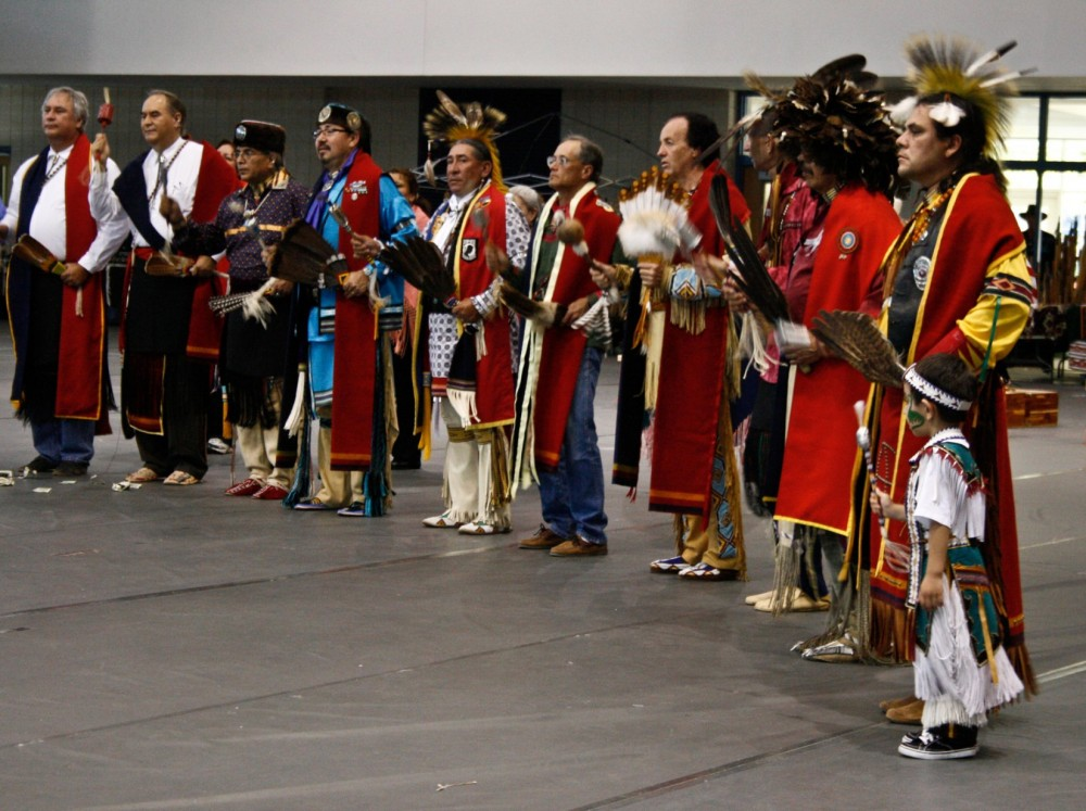 Ben Nava, right, organizes the SU Native Powwow, which draws participants from across the country.