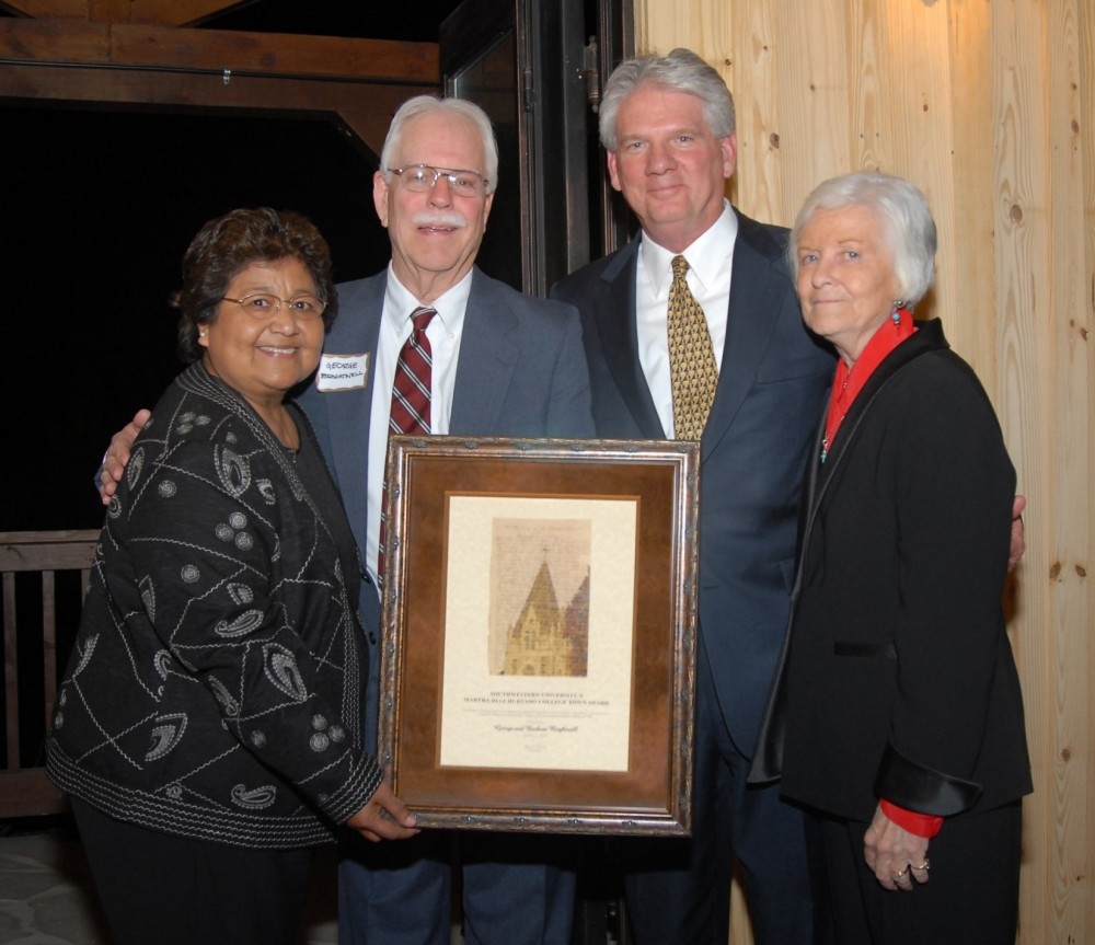 Barbara and George Brightwell stand with President Schrum and Martha Hurtado (left).