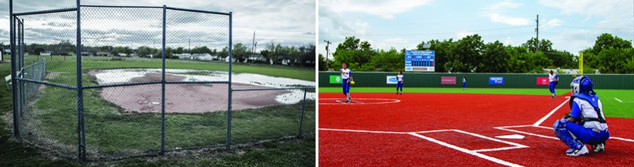 Before & After Photo of the SEHS Softball Field