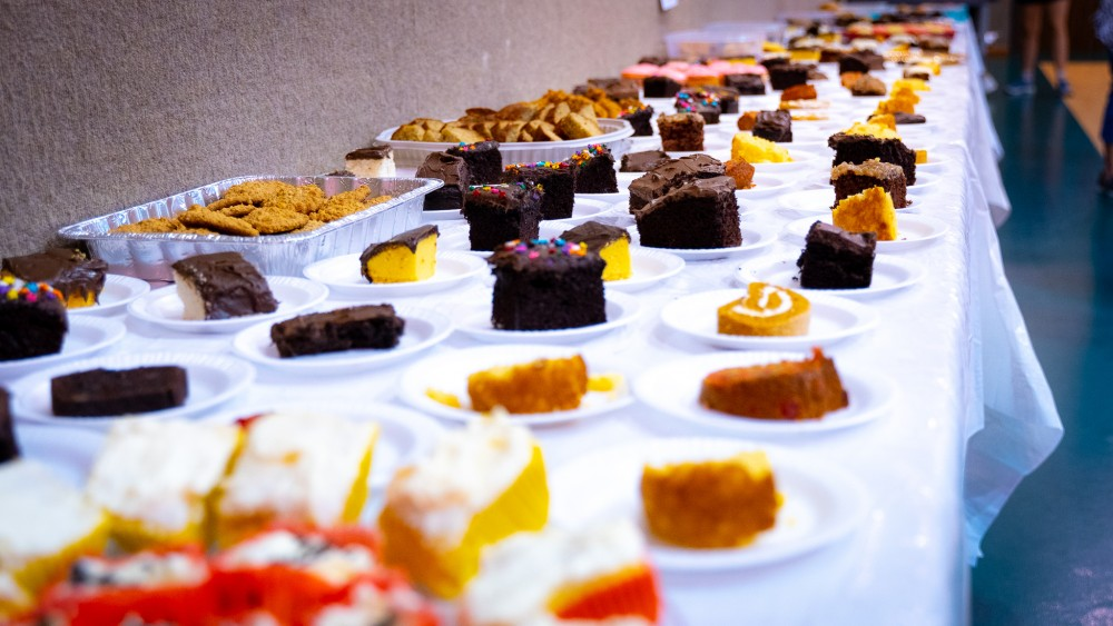 The main treat of church lunch, of course, is the dessert table.