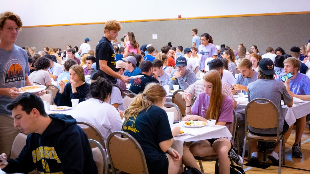 Up to 800 SU students, faculty, and staff attend church lunch every Monday.