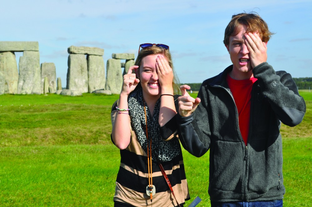 Leslie Ramey '14 and Will Cozzens '14 show their Pirate pride at Stonehenge.