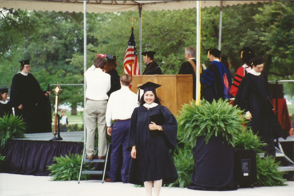 Madge Vásquez at her Southwestern graduation in 1994.