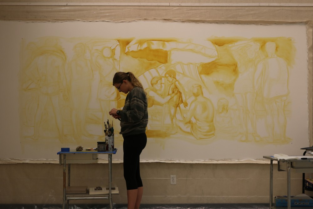 Kati Hellmer begins work on the recreation of Bathers.