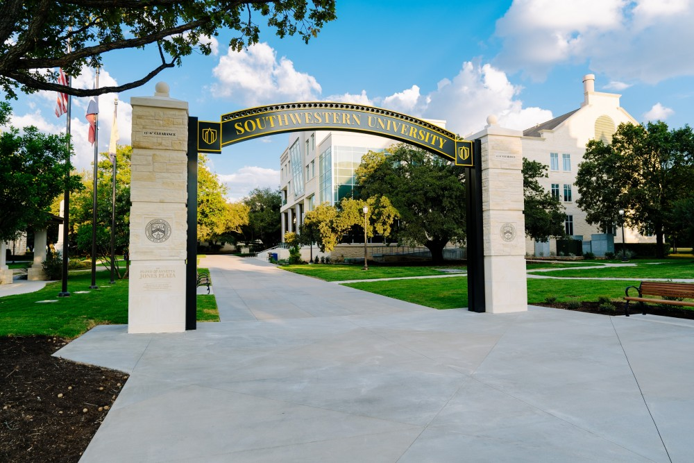 A recent image Barron photographed of Southwestern's new arch and Fondren-Jones Science Center.