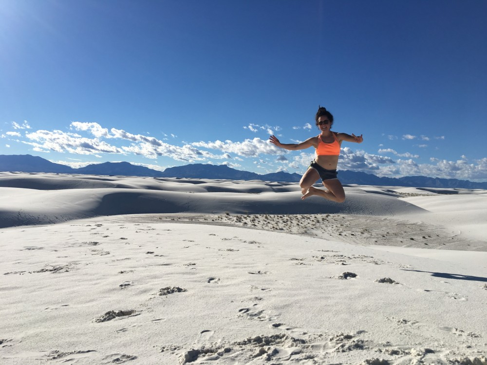 Floating high above the sand dunes in White Sands National Monument.