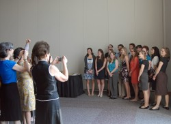 New members of Phi Beta Kappa pose for pictures following their induction. (Photo by Ellen Davis)
