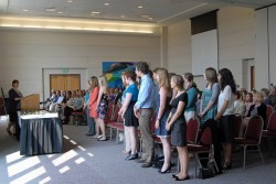 Theta of Texas Chapter President Rebecca Davis addresses students who were selected for induction into Phi Beta Kappa (Pho...