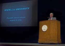 At the conclusion of his 2012 State of the University Address, President Jake B. Schrum announced his plans to retire at t...