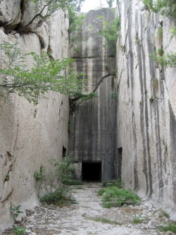 This rock-cut tomb near Qufu, Shandong Province, is one of more than 40 such rock-cut tombs from the Han dynasty that Alli...