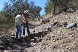 Will Danheim and Nolan Klein work on a trail in New Mexico's Gila Wilderness over spring break.