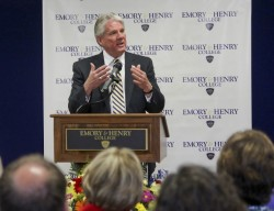 President Schrum speaks at Emory & Henry College after his appointment there was announced April 22.