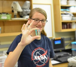 Amy Miller holds up tissue samples she obtained from apple snails in biology professor Romi Burks' lab. Burks will use DNA...