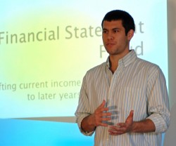 Michael Cantu gives a presentation on financial statement fraud to the Fraud Examination class.