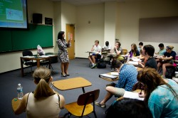 Professor Fay Guarraci's Principles of Psychology class is part of the new Paideia cluster on global health. (Photo by Ann...