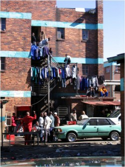 This photo of a migrant worker hostel in Johannesburg, South Africa, is one of three taken by history professor Thom McCle...