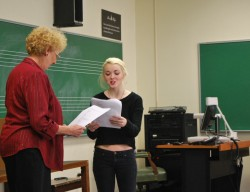 Annabeth Barbre (right) and AAUW member Pat Rehm rehearse the vignette they wrote together as part of the intergenerationa...