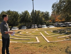 2013 graduate Derrick Dolezal helped build the labyrinth as part of a summer internship with the Office of Religious and S...