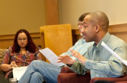 Sociology professor Reggie Byron discusses his research at a talk sponsored by the Feminist Studies Program.