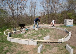 Kelsey Abel and Nathan Balke begin construction of a low-cost dome greenhouse.