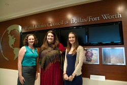 Southwestern graduates Rachel Wallis, Chelsea Marshall and Alana Buenrostro all work together at the World Affairs Council...