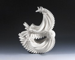 "Art professor Mary Visser made this sculpture titled ""Reflections"" using 3-D printing technology. How such techn..."