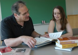 Megan McCarty is helping her professor, Michael Cooper, with research for several of his book projects.