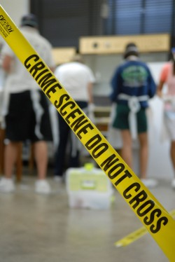 A simulated crime scene investigation is the final excercise of the new Forensic Biology class offered during May Term.