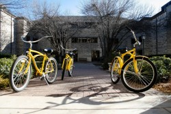 Getting around Southwestern's campus is easy, thanks to its fleet of free Pirate Bikes.