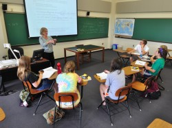 Erika Berroth incorporates language, literature and culture into the German classes she teaches at Southwestern. (photo by...