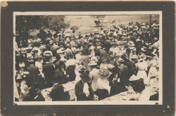 "This photo was taken of a ""barbeque and basket dinner"" held at Southwestern's first homecoming in 1909. Thi..."