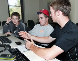 Members of the SU Pirate team (Aaron Kinsman, Nicholas Ashford and Alan Lowry) prepare for the 2009 Battle of the Brains. ...