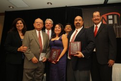 President Schrum stands with other winners of the 2009 awards from the National Hispanic Institute. At right is Southweste...