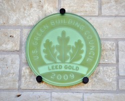 It's official - Southwestern received LEED certification for its new Admission Center. (Photo by Carlos Barron)