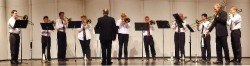 Eileen Meyer Russell has also started a local trombone choir. The choir is shown here during an April 2009 performance tha...
