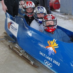 While he was in Utah, McLean (center) got a chance to see firsthand what a bobsled run is like.
