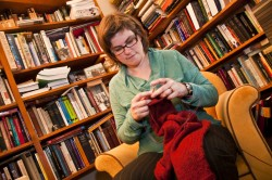 History Professor Elizabeth Green Musselman has combined her love of knitting with her teaching (Photo by Carlos Barron)