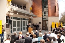 President Schrum speaks at the dedication of the new Prothro Center for Lifelong Learning (Photo by Andrew Loehman).