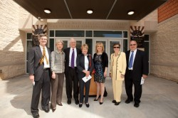 Members of the Prothro family stand at the entrance of the new Prothro Center. From l-r are: Vincent Prothro, Caren Prothr...
