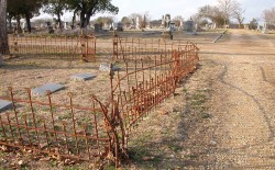 This photo shows what the iron fence surrounding former President McLean's family plot looked like before Physical Plant e...