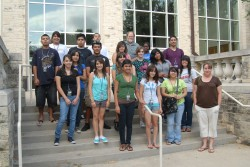 The first participants in the Vicente Villa Summer Scholars program posed for a photo their first day on campus.