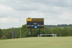 The new scoreboard on the varsity soccer/lacrosse field is much more energy-efficient than the previous scoreboard, which ...