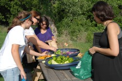 Kira McEntire shares produce from Southwestern's community garden with a group of staff members.