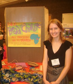"Sophomore Jenna Gaska displays her ""Bead the Change"" project at the CKI International Convention in August. The ..."
