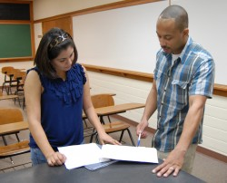Senior Victoria Dominguez has been helping Sociology Professor Reggie Byron on some of his research.