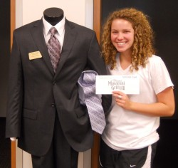 First-year student Mara Weidmann won a gift card for participating in a survey that helped Career Services assess the impa...