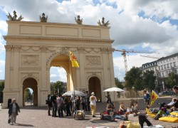 Leah Jones took this picture of a anti-nuclear power demonstration under the Brandenberg gate in Potsdam during her semest...