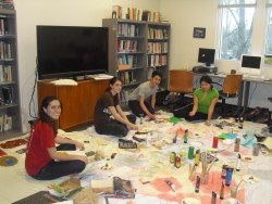 Kappa Delta Chi, the Latina sorority, used space in the Cross Cultural  Center work on an art project to raise awareness o...