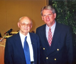 Former Psychology Professor Douglas Hooker stands with President Jake B. Schrum, who encouraged Hooker to write a book abo...