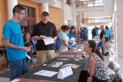 The Forward March program included a college/career fair July 11. Here, Gail Roberson, associate director of admission, sp...